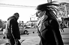_DSC6605 (stimpsonjake) Tags: nikoncoolpixa 185mm streetphotography bucharest romania city candid blackandwhite bw monochrome hair windy youngwoman