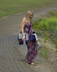 Headed Down (swong95765) Tags: woman blonde dress beautiful path down carrying stuff rockstar sandals