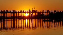 Amanapura U Bein Bridge (gerard eder) Tags: world travel reise viajes asia southeastasia myanmar burma amanapura irrawaddyriver ubeinbridge bridges brcken puentes sunset sonnenuntergang puestadesol reflections spiegelung