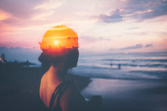 Devina (Louis Dazy) Tags: 35mm double exposure sunrise sunset clouds golden hour girl waves beach
