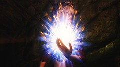TESV - Powering up (tend2it) Tags: kenb elder scrolls skyrim v rpg game pc ps3 xbox screenshot sweetfx enb krista demonica race sg lilith 161 felicia arcane mage magic magik cast caster spell green eyes blond hair mods blue white powering up yellow orb glow