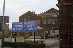 Dundee West goods station, 1983 (Taysider64) Tags: signs dundee railways dereliction goodsstation
