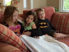 Hanging out in the morning watching Batman (ktbuffy) Tags: family sean jerseyshore kaylee iphone carolena