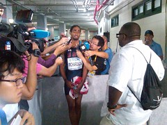 This dude is a natural. I am so proud of him. Another World Champ in the camp! 110m hurdles