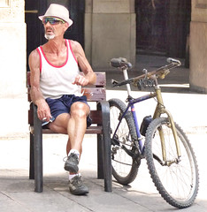 An old sportsman (chrisk8800) Tags: barcelona life street city portrait people urban face sunglasses bike bicycle lumix photography spain cigarette candid smoke stranger smoking panasonic g6 tobacco strawhat sportman