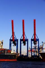 containers & shipyards (Rasande Tyskar) Tags: sea water port river germany deutschland wasser ship harbour ships hamburg container containership shipyard hafen schiff elbe schiffe containers werft containerschiff