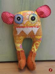 Love my Monster! (bornschein) Tags: pink orange monster yellow handmade textile fabric myhandmade sewrecycled