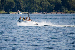 August on the Lake 2 (LongInt57) Tags: blue trees girls vacation people woman brown white canada man men green beach boys water fun boats person women bc okanagan shoreline lakes boating summertime recreation bikinis wakes vacationing splashes