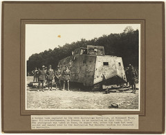 German tank captured by the 26th Australian Battalion at Monument Wood, near Villers-Bretonneux, on 14 July 1918; photograph taken at Vaux 4 August 1918 after the tank had been handed over to the Australian War Records Section (Tasmanian Archive and Heritage Office Commons) Tags: war tank soldiers mephisto westernfront ww1 1917 vaux crowther 19141918 villersbretonneux a7v sturmpanzerwagen armoredwarfare armouredwarfare a7vsturmpanzerwagen monumentwood 26thaustralianbattalion
