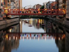 """View of the Bridge"" - Girona, Spain (TravelsWithDan) Tags: city bridge flowers urban water night reflections river spain eiffel girona onyar wonderfulworld gustaveeiffelbridge"
