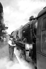 SVR 21779bw (kgvuk) Tags: trains railwaystation locomotive railways steamtrain svr steamlocomotive severnvalleyrailway hamptonloade 462 battleofbritainclass hamptonloadestation 34053 bulleidpacific sirkeithpark southernlocomotiveslimited