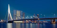 Skyline Rotterdam (zsnajorrah) Tags: longexposure bridge sunset urban reflection water netherlands skyline architecture night rotterdam clear explore bluehour kopvanzuid erasmusbrug derotterdam efs1785mm eos600d
