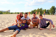 Group of teens at the beach