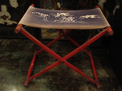 "JAPANESE FOLDING RED LACQUERED STOOL, EARLY 1900'S. • <a style=""font-size:0.8em;"" href=""http://www.flickr.com/photos/51721355@N02/14743546700/"" target=""_blank"">View on Flickr</a>"