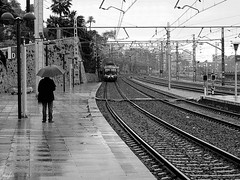 ¡Ya viene! (josagles) Tags: people rain station train umbrella tren lluvia gente rail railway paraguas estación ferrocarril