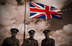 Gone But.. (mickb6265) Tags: sepia reenactors thegreatwar unionjackflag gonebutnotforgotten 191418 ww1soldiers sywellgreatwarairshow2014