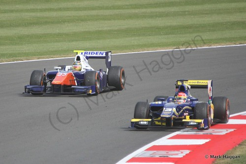 Felipe Nasr and  Johnny Cecotto, Jr in the second GP2 race at the 2014 British Grand Prix
