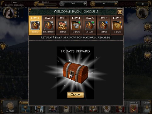 Game of Thrones Ascent Daily Reward: screenshots, UI