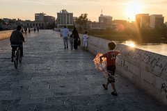 My kite (munal4) Tags: bridge sunset kite turkey children child trkiye adana ocuk uurtma takpr
