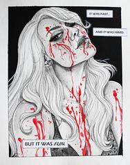 Killer Babe II (crimsonology) Tags: portrait selfportrait art monochrome painting blood comic drawing text babe lingerie killer greyscale crimsonology