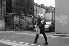 P9033633-1-2 (Lawrence Holmes.) Tags: streetphotography street mono blackandwhite ancoats girl blonde manchester uk backstreets olympusc7070