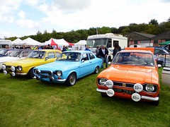 Lathalmond (View of three Ford Escorts Mk1s) (Netty 78) Tags: greatbritain blue orange classic ford car sport yellow mexico scotland automobile europe day display unitedkingdom fife scottish vehicle british 1973 europeanunion escort 2014 mk1 lathalmond