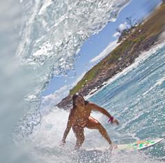 inside looking out.... (bluewavechris) Tags: ocean morning sea sun water girl canon fun hawaii surf ride boobs action barrel wave maui bikini surfboard pro swell wahine womn cmtwaterhousing