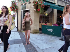 Division belle (Andy WXx2009) Tags: street city girls people urban sexy beauty fashion shopping walking cafe women europe legs sandals candid femme cardiff streetphotography style sidewalk blonde bags brunette leggings minidress tightfit