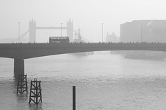 72/365 - London fog (Spannarama) Tags: uk people blackandwhite mist bus london fog thames towerbridge londonbridge river walking march bridges steam pedestrians 365 doubledeckerbus 2014