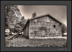 Outer Space (the Gallopping Geezer '4' million + views....) Tags: halloween spooky creepy scary building structure old abandoned decay decayed weathered worn faded derelict vacant canon 5d3 sigma 24105 geezer 2016 outerspace sign signage barn mural paint painted wall alto mi michigan