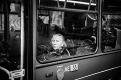 *** (stefanopad82) Tags: hackney london uk donna woman old bus sad expression window street streetphotography
