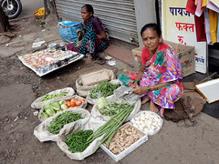 Veggie Seller (cowyeow) Tags: market marketplace streetmarket business trade pune india indian street asia asian travel exotic maharashtra city candid poor people vegetables woman indianwoman composition