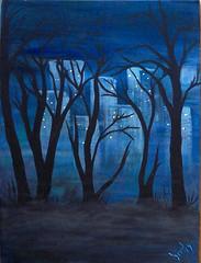 City Park at Midnight (BirdysNest) Tags: midnight city citylights lights glow spooky night park newyork new york blue abstract canvas original painting acrylic