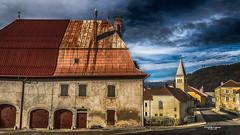 Tableau comtois (Tra Te E Me (TTEM)) Tags: lumixfz1000 photoshop cameraraw architecture maison comtois église village toits local jura franchecomté