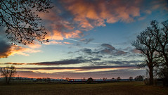 Meridian aproaching dusk (Peter Leigh50) Tags: leicestershire langtons langton landscape sky sun clouds meridian east midland trains