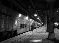Cold Night in Toledo (GLC 392) Tags: amtrak passenger car black white superliner toledo oh ohio station depot night lights railroad railway train time cold crew change