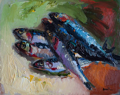 Still Life with Anchovies (http://annafineart.net/) Tags: expressionism imprrssionist contemporary modernart gallery artstudio oilcolors mixed mixedmedia modern landscape landscapes annafineart abstract abstractart abstractpainting art arts painter dailypainter artist oil painting paintings fineart finearts oilmedia oilpainting impasto anna fine fish fishy fishes stilllife expressionist textura