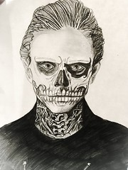 (Arti Mistry) Tags: makeup scary facepaint face character man monochrome blackandwhite white black skeleton tonal pencil sketch drawing ahs americanhorrorstory evanpeters