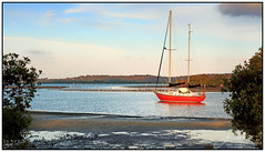 Sailing (juliewilliams11) Tags: outdoor photoborder waterfront boat water shore red evening newsouthwales australia
