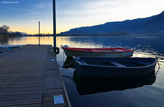 Boat place (Stievesox) Tags: nikon d7000 tokina 1116mm lake lago lombardy landscape lombardia lakescape lovely boat bello sunset sunshine shadows rest pier molo barche colors mountain montagna olginate light end