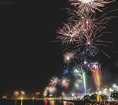 Diwali at Marine Drive, Mumbai, 2016 (Mad Physics Guy with a Camera) Tags: diwali fireworks mumbai india marinedrive nikon night festival seaface sea celebration nikond5000 urban city citylife stacked longexposure reflection water skyline lights
