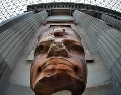 Pharaoh Amenhotep III, Egyptian 18th Dynasty, c1400 BCE, quartzite head - Great Court, British Museum, London (edk7) Tags: olympuspenliteepl5 olympus9mm18140fisheyezonefocusbodycaplens edk7 2016 uk england londonboroughofcamden bloomsbury holborn britishmuseum architecture building oldstructure art artwork ancient old statue sculpture stonecarving greatcourt gradeilisted column capital lattice pharaohamenhotepiii egyptian 18thdynasty c1400bce quartzitehead