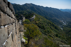 The Great Wall of China - Side view (Oidoy Photography) Tags: mountains asia asian hill outdoor history chinese architecture atumn sky blue sunny hills mountain travel beijing china great wall hauirou mutianyu nature landscape breathless mountainside vibrant color colours october travelphotography rampart road path pathway walking tourist tourists trail winding crooked twisted side view sideview autumn brick manmade man made