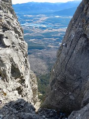 Mt Yamnuska Summit Scramble - A view down to the Seebee Dam area (benlarhome) Tags: yamnuska exshaw alberta canada scramble scrambling hike hiking trail path