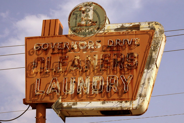 Governors Drive Cleaners neon sign - Huntsville, AL