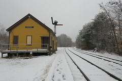 Conway NH Train Station (caboose_rodeo) Tags: 2666 trainstation railroadstation snow traintracks newhampshire conwayscenic semaphoresignal favorite