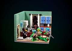 TMNT: Attack in April's apartment (cecilihf) Tags: lego moc tmnt turtles ninja ninjaturtles teenagemutantninjaturtles movie 1990 90s april apartment brokenwindow