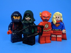 CW 4 Night Crossover (MrKjito) Tags: lego minifig superhero cw 4 night crossover event supergil flash arrow legends tomorrow green the atom super hero custom