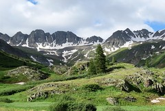 The Mountains Are Calling and I Must Go (Patricia Henschen) Tags: americanbasin alpine scenicbyway lakecity colorado silverton subalpine clouds mountains wildflowers wildflower snow sanjuanmountains sanjuan alpineloop mountain