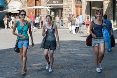 Happy by 3 (Ron Scubadiver's Wild Life) Tags: girl woman candid street style nikon 2875 italy outdoor florence sneakers shorts